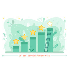 service rate and growth graphic stars and ladder vector image