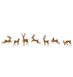 set deers isolated sika deers reindeers vector image