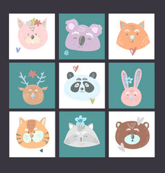 set of 9 kids cards with cat koala fox deer bear vector image