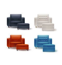Set of armchairs with poufs vector
