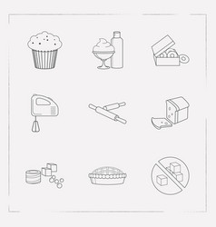 Set of bakery icons line style symbols with loaf vector