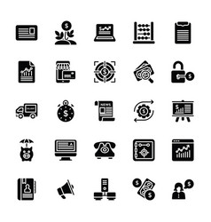 Set of startup and new business glyph icon vector