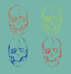 set skulls isolated on background vector image
