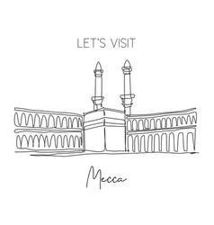 single continuous line drawing masjidil haram vector image