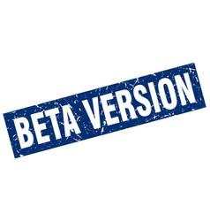 Square grunge blue beta version stamp vector