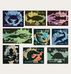 Stamps on theme underwater sea animals vector