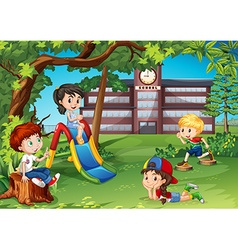 Students playing in the school playground vector image
