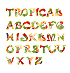 stylized calligraphic font and alphabet tropical vector image
