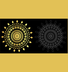 Thai art style ornament black color and out line vector