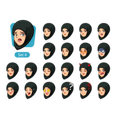 The fourth set of muslim woman cartoon avatars vector