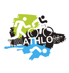 Triathlon race icons background vector