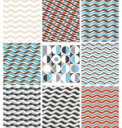 Waves - set of geometric seamless patterns vector