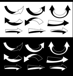 White and black arrow icons set vector