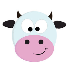 white and black cute cow on white background vector image
