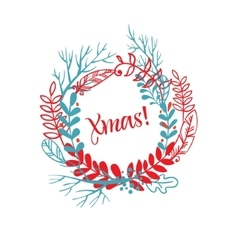 Wreath of hand drawn xmas vector image