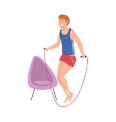 young man jumping with skipping rope home vector image