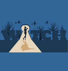 young witch posing witch silhouette vector image