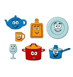 Collection of cartoon kitchenware vector image vector image