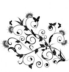 floral design with butterflies vector image