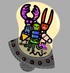 friendly aliens vector image vector image