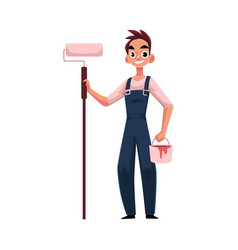 happy smiling painter standing and holding paint vector image