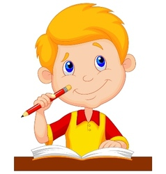 Little boy cartoon studying vector image vector image