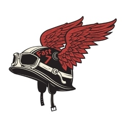 Live to ride Motorcycle helmet with wings on vector image