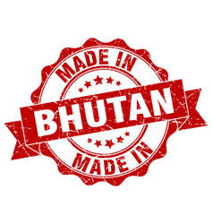 made in bhutan round seal vector image vector image