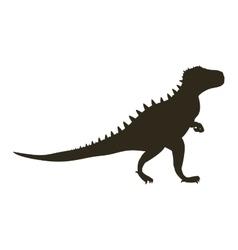 monochrome silhouette with dinosaur tyrannosaurus vector image
