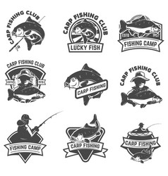 set of carp fishing labels isolated on white vector image vector image