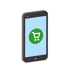 smartphone with shopping cart mobile shopping vector image