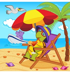 turtle drinking cocktail in lounge chair on beach vector image vector image