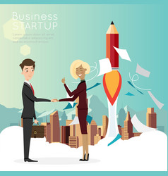 Businessman handshake with city background for vector