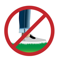 do not step on grass sign vector image