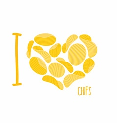 I love chips Symbol heart of potato chips Frying vector image vector image