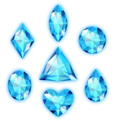 Set of blue gems isolated on white vector image