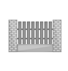 wooden fence with brick pillars icon monochrome vector image