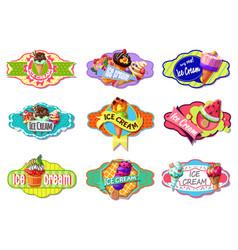 Cartoon colorful ice creams labels set vector