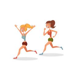 funny running girls vector image