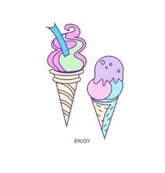 Ice-cream icon character 01 vector