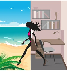 office to vacation vector image vector image