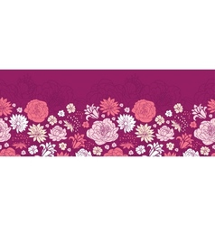 Purple pink flower silhouettes horizontal seamless vector image vector image