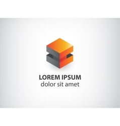 3d orange and grey abstract cube logo vector image