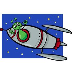 alien in rocket cartoon vector image vector image
