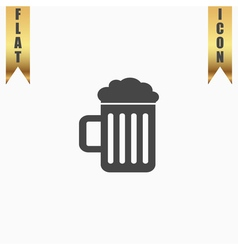 Beer mug flat icon vector image vector image