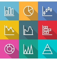 Business outline Charts and Graph Icons vector image vector image