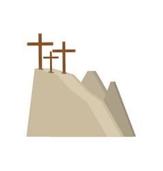 calvary hill three crosses vector image