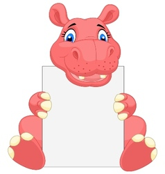 Cute hippo cartoon holding blank sign vector image vector image
