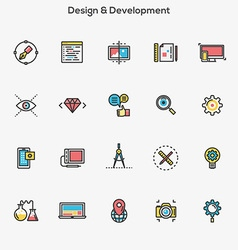 Flat line color icons Design and Development vector image
