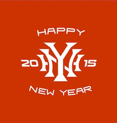 Happy New Year title logo for postcard banner or vector image